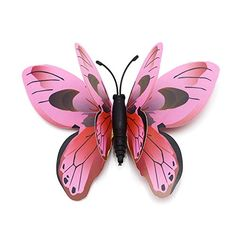 Hdecor 48pcs 3D Double Wings Butterfly Stickers Making Stickers Wall Stickers Crafts Butterflies with Sponge Gum and Pins Pink -- Find out more about the great product at the image link.