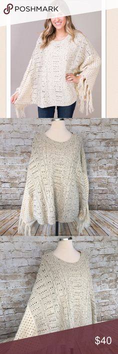 """NWT Mystree Oatmeal Poncho Sweater Gorgeous knit acrylic sweater with fringe at ends of """"sleeves"""". Keep warm with this stylish sweater!   Measurements in inches when laid flat:  Waist width: 30 Length: 22 mystree Sweaters Shrugs & Ponchos"""