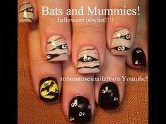2 Halloween Nail Art Tutorials | DIY Mummy & Bats Nail Design - YouTube
