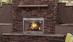 Superior Outdoor Wood Burning Fireplace with Catalytic PureFire Technology, White Stacked Brick Panel Fireplace Vent, Outdoor Wood Burning Fireplace, Fireplace Stores, Outdoor Fireplaces, Fireplace Inserts, Fireplace Ideas, Stainless Steel Screen, Brushed Stainless Steel, Superior Fireplace