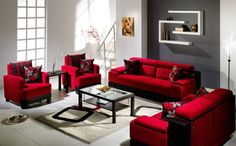 Alluring Gray White Walls And Red Living Room Sofa Also White Rugs With Modern Wall Shelves 10 Cool Red Living Room Color Ideas Gold End Table Glass Pendant Lights Narrow Console Table Living Room Red Couch Living Room, Living Room Colors, New Living Room, Living Room Modern, My New Room, Living Room Designs, Small Living, Black And Red Living Room, Cozy Living