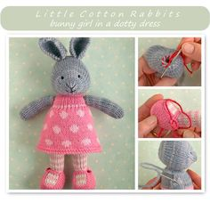 This pattern is written in English only. This listing is for an extensive PDF file which contains full instructions for knitting and finishing off a little cotton rabbit girl in a dotty dress. Once paid for it is available for you to instantly download. The finished rabbit is approx 24cm...