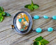 Orange Spiney Oyster w/ kingman turquoise, bronze, citrine and amazonite necklace. Sterling silver vivid blue and orange gemstone necklace.