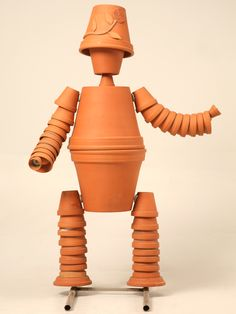 Vintage English Terracotta Flower Pot Man