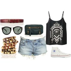 converse, studded bracelets & ripped shorts. a #sevenly tank is all that's missing!