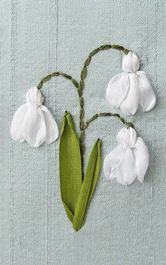 Snowdrops Card. Silk Ribbon Embroidery by bstudio on Etsy: