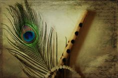 Krishna Flute With Peacock Feather Painting Krishna Flute, Baby Krishna, Cute Krishna, Lord Krishna Images, Radha Krishna Pictures, Radha Krishna Photo, Radha Krishna Love, Shree Krishna, Radhe Krishna Wallpapers