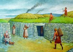 Artist's rendition of our Skara Brae appeared in Neolithic times