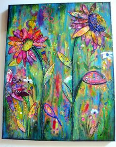 "Original 18 x 14 mixed media on canvas.  ""Life Springing Up""  dimensional floral painting"