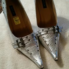 Fashion heels Trendy  silver snake print  heel with a buckle looks great with a pair of skinny jeans!  Perfect for a night out on the town! N.Y.L.A. Shoes Heels
