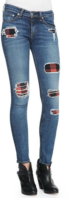 Pin for Later: The 7 Denim Trends You'll Live In All Fall  Rag & Bone The Skinny Sloane Plaid Repair Patch Jeans ($396)