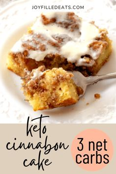 Low Carb Cinnamon Roll Cake has a sweet cinnamon filling, tender cake, & cream cheese glaze. You won't believe it's keto and gluten-free! This easy keto cake will feed your desires for something sweet this fall. This easy cinnamon roll cake has all the things you love about classic cinnamon rolls, the frosting, filling, and cinnamon flavor minus the hours of work AND the carbs. This easy recipe is low carb, keto, gluten free, grain free, sugar free, and Trim Healthy Mama friendly. Low Carb Deserts, Low Carb Sweets, Low Carb Keto, Low Carb Recipes, Soup Recipes, Sans Gluten, Gluten Free, Keto Cinnamon Rolls, Pastries