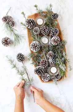 DIY Snow Covered Pine Cones & Branches Ways!} 3 minute gorgeous DIY snow covered pine cones & branches in 3 ways! Easy pinecone craft for winter weddings, farmhouse, Thanksgiving, Christmas decorations! - A Piece of minute gorgeous DIY snow covered p. Pine Cone Christmas Decorations, Christmas Pine Cones, Rustic Christmas, Christmas Crafts, Christmas Christmas, Snow Decorations, Primitive Christmas, Pine Cone Art, Pine Cone Crafts