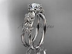 Platinum diamond leaf and vine flower wedding by anjaysdesigns