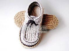 Crochet slippers pattern loafers with rope soles por magic4kids