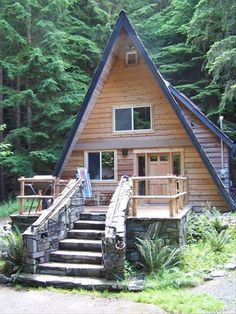 This wonderful A-frame cabin is located on 10 wooded acres