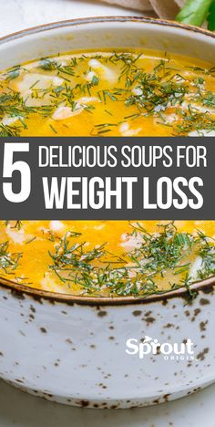 5 Healthy Soup Recipes For Weight Loss A weight loss diet plan doesn't necessarily have to be lacking in flavor. Here are 5 great tasting healthy soup recipes for weight loss you need to try. More from my Healthy Soup Recipes for Weight Loss Weight Loss Meals, Weight Loss Soup, Weight Loss Diet Plan, Healthy Weight Loss, Weight Loss Tips, Clean Eating Recipes For Weight Loss, Weight Loss Shakes, Weight Loss Challenge, Weight Loss For Women