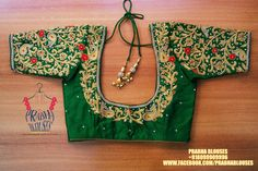Beautiful green color bridal designer blouse with floret lata design hand embroidery gold thread and bead work. Wedding Saree Blouse Designs, Best Blouse Designs, Pattu Saree Blouse Designs, Simple Blouse Designs, Blouse Neck Designs, Blouse Styles, Blouse Patterns, Sleeve Designs, Magam Work Blouses
