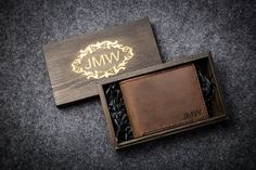 FREE BOX Mens Leather Wallet mens wallet personalized by Seamiga