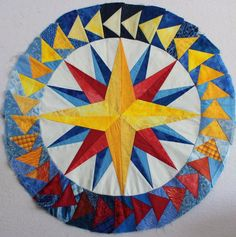 Mariner's Compass quilt block, quilting, drafting