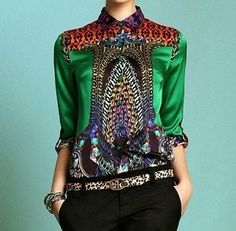 print silk shirt fashion women's long-sleeve Blouses & Shirt mulberry silk plus size shirt all-match silks and satins top green