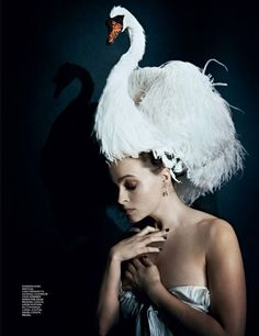 Helena Bonham Carter wearing Giles Spring-Summer 2012 white swan headpiece for May 2012 issue of Interview Magazine, photographed by Peter Lindbergh © Peter Lindbergh