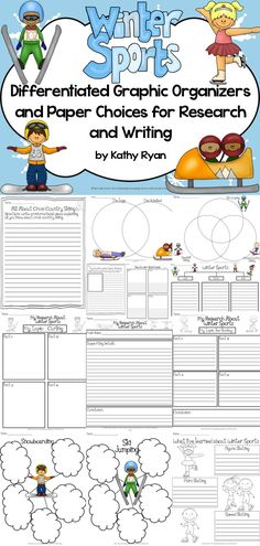 $ Need a sure way to get your students excited about reading and writing informational texts? Try this pack of over 150 differentiated graphic organizers and paper choices with a Winter Sports theme. Tree organizers, bubble maps, Venn diagrams, note taking sheets, as well as informational, how-to, and opinion writing paper templates.