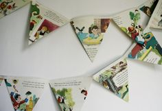 Vintage Mother Goose Book Bunting// story book pennant// mother goose shower or party decor// nursery decor