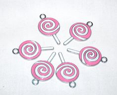 Enamel Pink and White Lollipop Charms  Supplies Bead by marykerran, $4.50