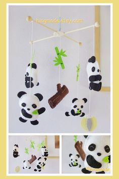 Baby Mobile  Panda Mobile  Happy Baby Panda Bear by hingmade, $92.00