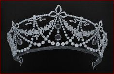 a close up of the diamond and sapphire garland tiara, worn by Princess Cristina of Bavaria in Athens 1962 for the wedding of Sofia and Juan Carlos, seen in a previous pin