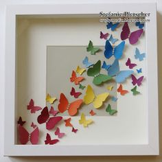 I made this shadow box for a friend of mine who love butterflies. I used scraps of card stock in various colours and the Beautiful Wings ...