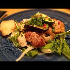 神楽坂にて。豚肉とナスのさっぱりした料理。 - @atsushi129- #webstagram