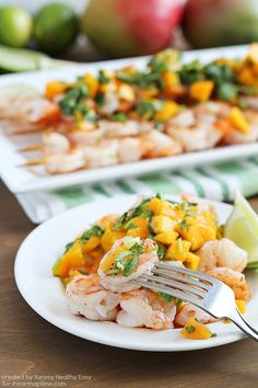 Grilled Shrimp Skewers with Mango Salsa by I Heart Nap Time