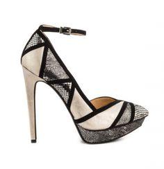 tan champagne black snakeskin geometric stripe ankle strap point toe high heel pumps