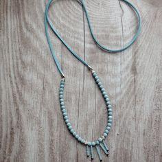 JanuarKristall Boho Kette hellblau, 925er Silber von MermaidsJewellery auf DaWanda.com