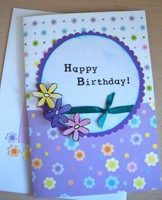 Happy Birthday card, purple, glitter, flowers, circle