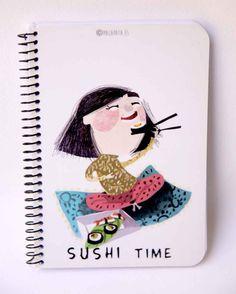 Libreta ilustrada sushi. www.malapata.es