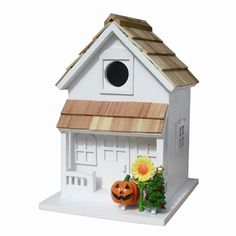 The Season's Tweetings Birdhouse rings in all Four Holiday Seasons. This cottage style birdhouse comes equipped with four interchangeable, seasonal decorations; American Flag for Summer/4th of July, Jack-O-Lantern for Fall/Halloween, Christmas Tree for Winter/Christmas and, our favorite, a miniature Birdhouse to herald the arrival of Spring/Easter. Get yours at www.hglifestyle.com