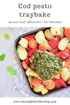 Cod pesto traybake. This healthy fish dish is a perfect quick and simple one-pan dinner meal. Full of flavour from the pesto and balanced with the potatoes and vegetables. Suitable for a gluten-free diet as well as being a low histamine recipe. #fishdish #fishrecipes #codrecipes #lowhistamine #lowhistaminerecipes #lowhistaminefoods #lowhistaminedinner #lowhistaminediet #glutenfreerecipes #onepanmeal #onepanmeals