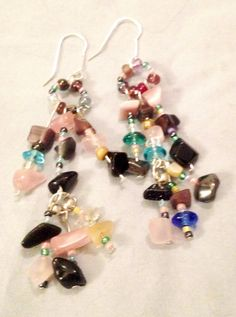 Beaded Dangle Earrings w/ Various Colored Beads by DesignsByGray