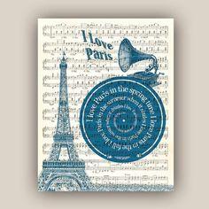 Paris Print I love Paris Song Frank Sinatra Eiffel by DigiMarthe, $25.00