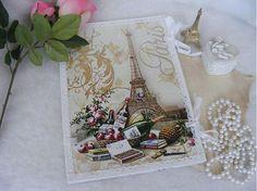Paríž a ruže ... / zakladač ... by giovana  Dosky na spisy so šnúrkami, zdobené technikou decoupage, 3D reliéfom a čipkou...