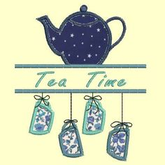 Tea time, tasses en désordre - 3 tailles Référence : DMDD888 Motif de broderie machine en appliqué représentant 4 tasses au bout d'une corde et une théière.