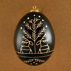 Pysanky Ukrainian Easter  Egg Black Deer Hand by JustEggsquisite, $10.00