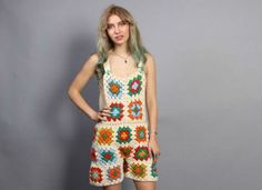 OVERALLS Romper / Crochet Granny Square Low Back Playsuit, xs-s from Lucky Vintage Seattle. Crochet Romper, Crochet Pants, Crochet Clothes, Crochet Granny, Crochet Yarn, Knit Crochet, Crochet Jumpsuits, Rompers, Crochet Dresses