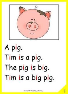 Short I Vowel Reader & Worksheets & Flashcards: Tim the Pig Phonics Reading, Teaching Phonics, Kindergarten Reading, Kids Reading, Reading Skills, Preschool Poems, Preschool Learning Activities, Learning English For Kids, English Lessons For Kids