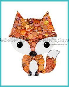 Botón de imprimir arte Fox | Botón de lona Fox | Vivero Fox decoraciones | Alojarte Fox inteligente, poco  La caligrafía puede ser de cualquier color!  Este listado está para una impresión de pieza botón arte Fox. Su impresión no tendrá botones reales en él y se imprime la caligrafía. Si usted está buscando una verdadera obra de arte de botón, visita este enlace: https://www.etsy.com/listing/272139202 ***  Este zorro se puede hacer sin la caligrafía o con la caligrafía en cualquier color…