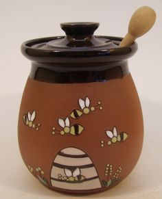 Handmade ceramic honey pot beehive