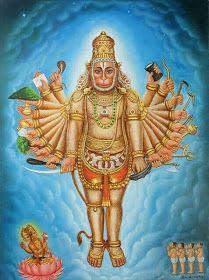 Lord Brahma prostrated Hanuman in this form.Hanuman appeared in Brahma Loka in this form to Brahma and Saptarishis. In this form Hanuman has twenty hands with weapons. Hanuman Photos, Hanuman Images, Lord Shiva Pics, Lord Shiva Family, Shiva Parvati Images, Shiva Shakti, Brahma, Lord Hanuman Wallpapers, Hanuman Chalisa
